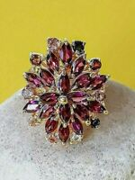 Natural Marquise Rhodolite Garnet Tourmaline 925 Sterling Silver Ring Size 7