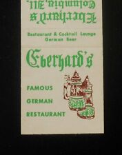 1970s Eberhard's Famous German Restaurant Columbia IL Monroe Co Matchbook