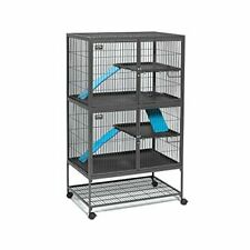 Small Animal Metal Cage w/ Locking Wheel Caster Ferret Habitat Dual Locking Door