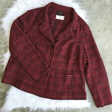 Talbots NWT Size 14W Plus Red Black Checkered Wool Blazer Jacket