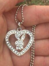 Silver necklace pendant rabbit bunny necklace pendant last kitsch heart crystals