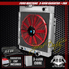 "FULL ALUMINUM 3-ROW/CORE RADIATOR+14"" RED COOLING FANS 64-66 FORD MUSTANG V8 I6"