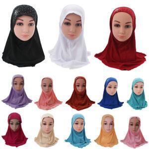 Child Muslim Kids Girls Hijab Scarf Islamic Arab Amira Headwear Underscarf Wrap