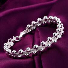 gourmette bracelet femme perles charms plaqué argent 925 tressée tendance souple