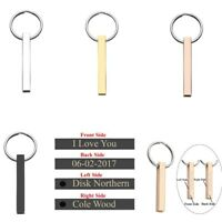 Personalised Engraved Steel Cuboid Rectangle Bar Key Ring Chain Keyring Keychain