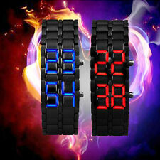2Pcs Mens Unisex Foxy Lava Iron Samurai Metal LED Faceless Bracelet Wristwatch