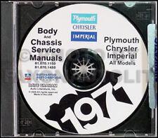 1969 Plymouth Shop Manual CD 69 Barracuda Cuda Fury Sport Valiant VIP Repair