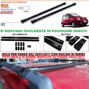 BARRE PORTATUTTO Premontate Specifiche FIAT PANDA II 2003>2011 Nero Acciaio 8814
