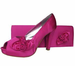 Ladies Wedding Party Heel Shoe Evening Shoes Peep Toe Fuschia Hot Pink Satin NEW