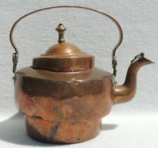 Antique Copper Metal Metalware Hand Hammered Hand Forged Brass Teapot #4578