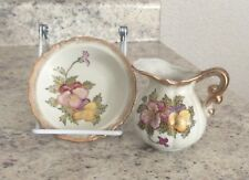 Lefton China Pansy Miniature Pitcher And Bowl