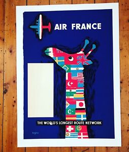 Affiche Ancienne Entoilee - Air France - Raymond Savignac 1950s