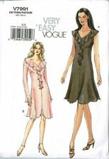 Very Easy Vogue V7991 Knit Dress Long Sleeve W/flounce Size Aa (6-8-10-12)