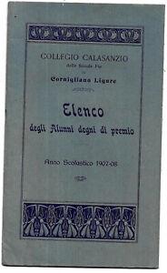 GENOVA CORNIGLIANO. COLLEGIO CONVITTO CALASANZIO.ELENCO ALUNNI DEGNI PREMIO,1908