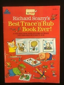 Richard Scarry's Best Trace 'n' Rub Book Ever!! RICHARD SCARRY Coloring + UNUSED