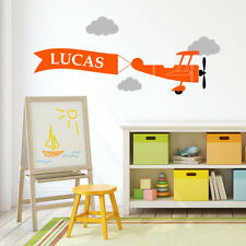 Custom Plane Aeroplane Nursery Sticker Wall Decal Cloud Boy Bedroom Kids Name