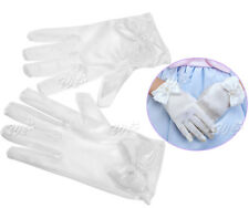 Pair of Girls White Satin Gloves Wedding Bridesmaid Flower Girl
