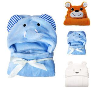 Newborn Baby Hooded Coral Fleece Animal Bath Towel Blankets Body Wrap BathrobeGL
