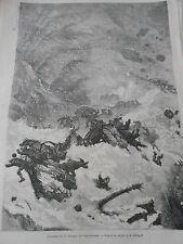 Gravure 1874 - L'Ouragan du 17 Novembre au Saint Gothard
