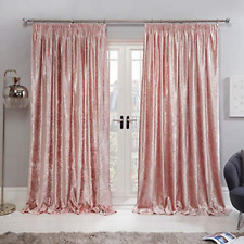 Sienna Crushed Velvet Curtains Pencil Pleat Pair of Fully Lined Tape Top Thermal