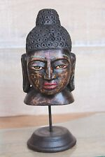 Handicrafted Antique Style Wooden Handmade and Painted BUDDHA HEAD # 3