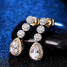 18K Multi-Tone Gold White Topaz Teardrop Dangle Women Bridal Wedding Earrings