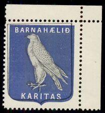 ICELAND 1905, KARITAS, Falcon Christmas Seal, og, NH, VF
