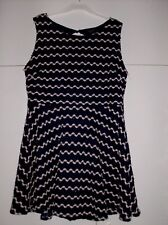 RIVER ISLAND LADIES BLUE AND WHITE SEQUIN DETAIL SKATER DRESS UK SZ 14