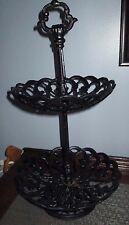 Vintage Cast Iron Pierced Pedestal Bowl 2 tier dessert/cake stand HAND ON TOP