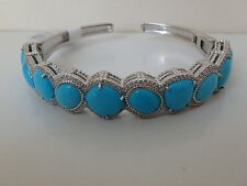 JUDITH RIPKA STERLING TURQUOISE DIAMONIQUE BRACELET CUFF NEW LARGE L 8