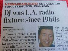 1944-2016 ART CHARLIE TUNA FERGUSON MINI OBITUARY DJ LA RADIO FIXTURE SINCE 1960