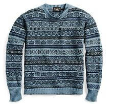 RRL Ralph Lauren Indigo Dyed Fair Isle Military Cotton Sweater-MEN-L