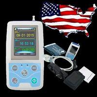 [US] ABPM Holter NIBP MAPA Monitor Dynamic ECG EKG Recorder Contec +Cuff Sale