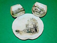 More details for genuine dolhain wirths opaque satin glass plate & 2 vases edinburgh henley