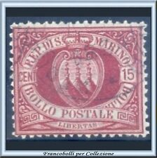 1894 San Marino Stemma 15 cent. carminio n. 15 Usato []