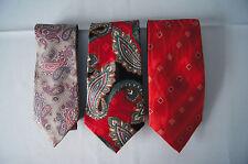 Lot of 3 mens silk ties Tattersall Halson Carlos Devenesia paisley red grey GUC