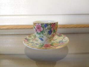 """Empire Ware """"Maytime """" Egg Cup With Attached Plate England 1930s Rare"""
