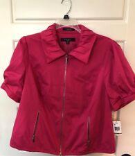 NINE WEST NEW Tags NOS Magenta Pink Women Sz 16W Zipper Front Jacket Blazer