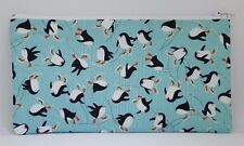 Cute Skating Penguins Fabric Handmade Pencil Case Make Up Bag Storage Pouch