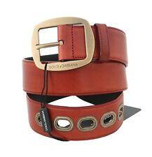 NEW $580 DOLCE & GABBANA Belt Red Leather Gold Buckle Logo Wide s. 110cm / 44in
