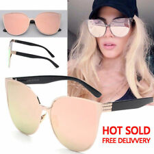Hot Rose Gold Cat Eye Women Ladies Oversized Large Sunglasses Mirrored Retro New