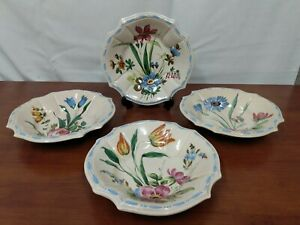 351 Italy Signed NOVE ROSE Floral Blue Majolica Mid Century Soup CEREAL BOWLS 4