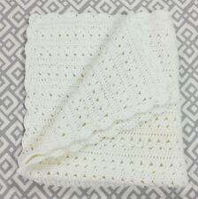 "Handmade Crochet Afghan Throw Blanket 33"" X 37""  White Cozy Baby Blanket"