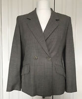 JAEGER Vintage Pure New Wool Boyfriend Blazer Brown Check Jacket Sz UK14 Blogger