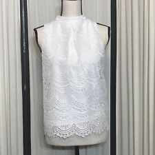 Haute Monde White Sleevless Mock Lace Top Sz L Sleeveless