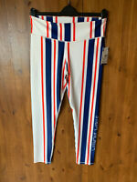 RRP £89 - UO WITHOUT WALLS GYM LEGGINGS Navy Blue Red Striped L / UK 14 - BNWT