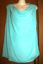 French Laundry Woman Acetate/Spandex Mint Green Cowl Neck Travel Knit Tank Top L