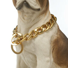 Big Dog Collar Stainless Steel Cuban Miami Chain Pet Choker Gold Plated Collar