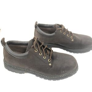 Skechers Mens Size 11 Brown Suede Leather Work Shoes SN7111 Utility Oxford Shoes