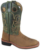 Kid'S Autry Brown Distress/Green Crackle Leather Cowboy Kids Boot